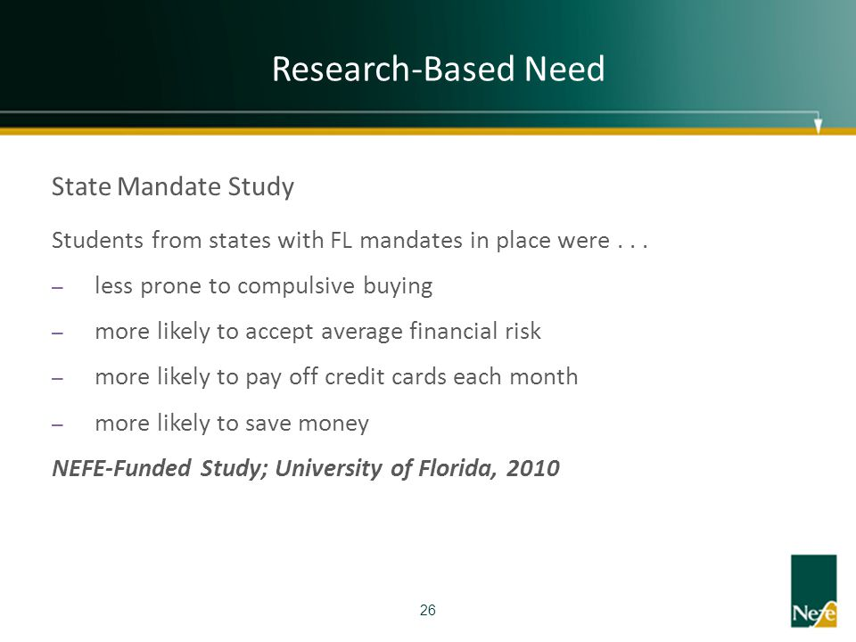 Research-Based Need State Mandate Study