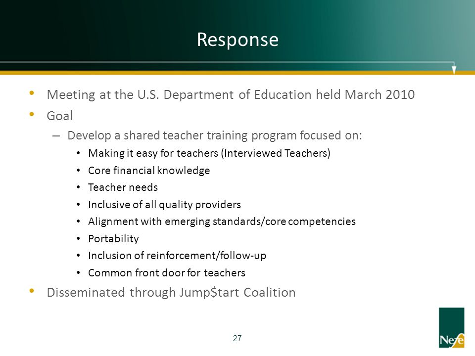 Response Meeting at the U.S. Department of Education held March 2010