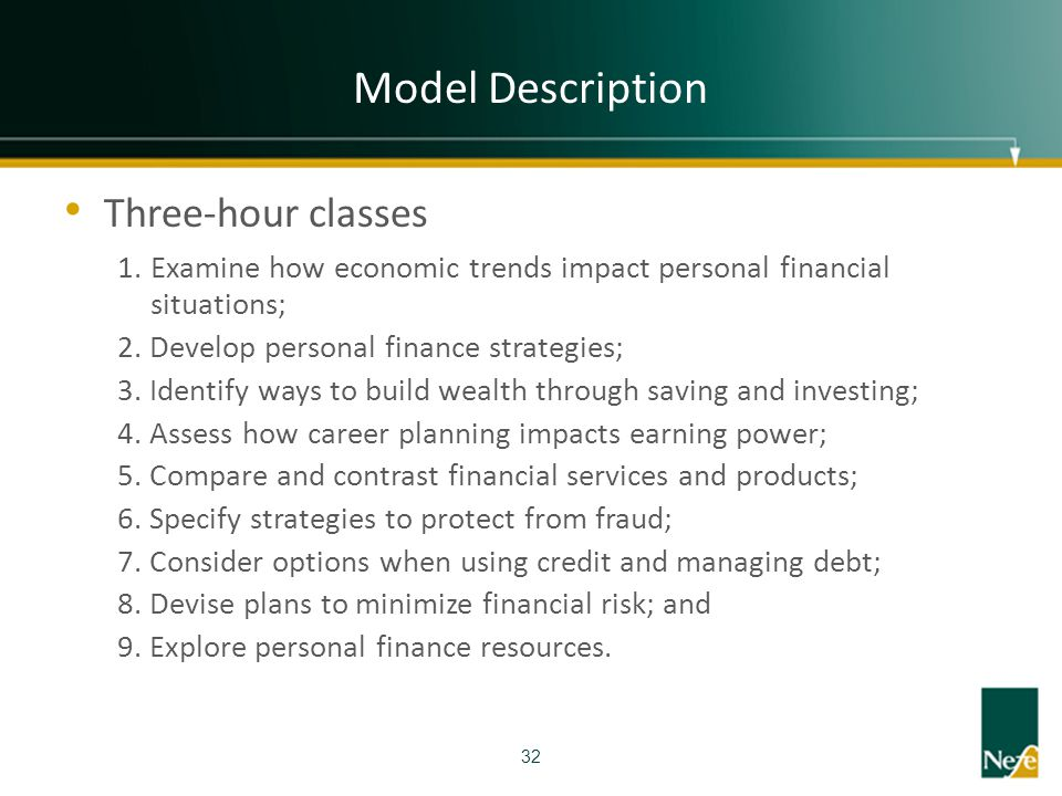 Model Description Three-hour classes