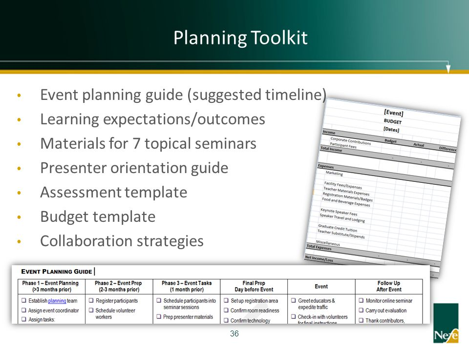 Planning Toolkit Event planning guide (suggested timeline)