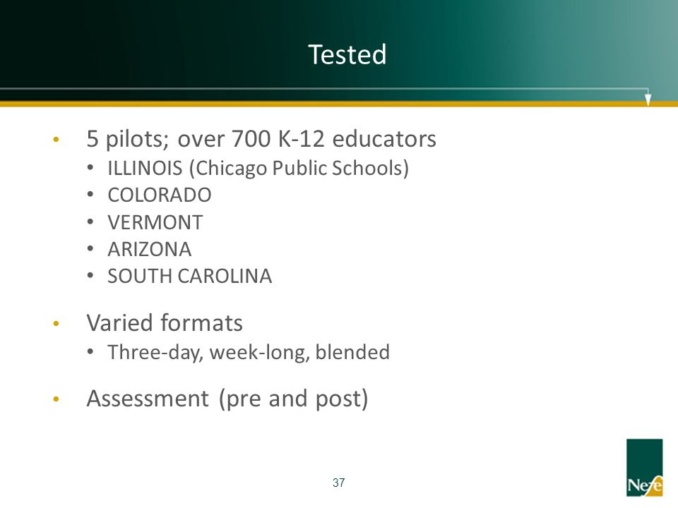 Tested 5 pilots; over 700 K-12 educators Varied formats