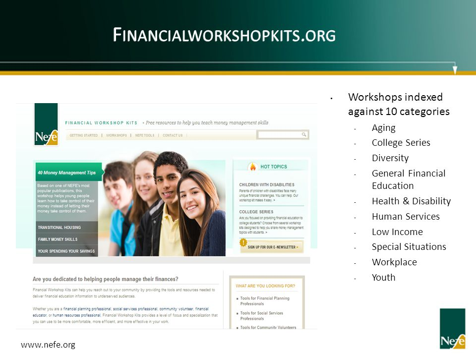 Financialworkshopkits.org Workshops indexed against 10 categories