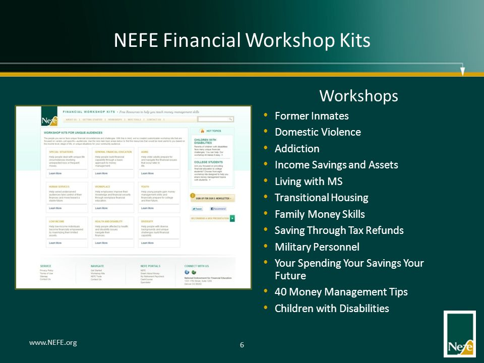 NEFE Financial Workshop Kits