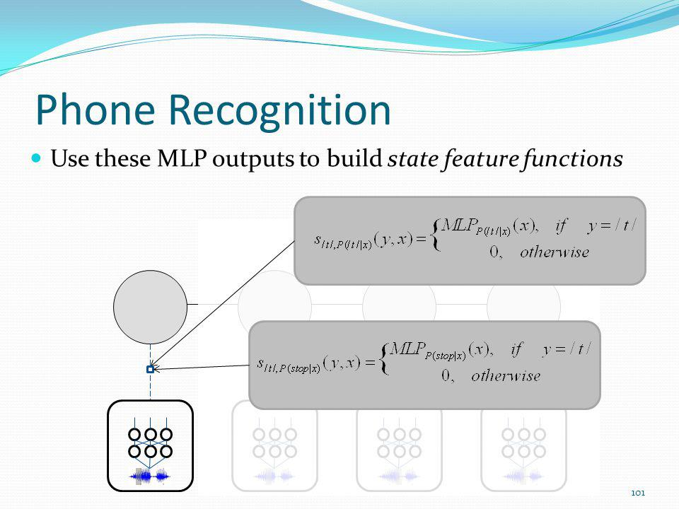 Phone Recognition Use these MLP outputs to build state feature functions