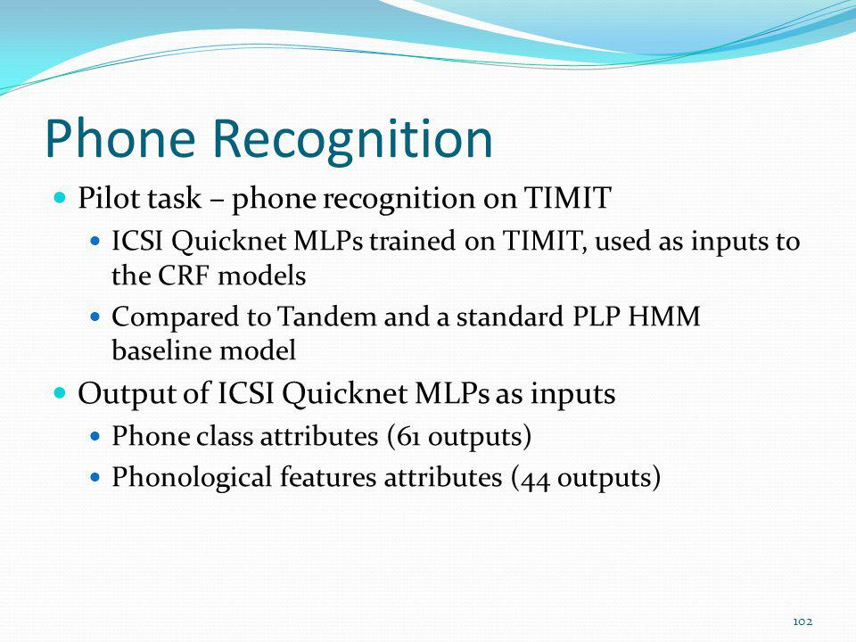 Phone Recognition Pilot task – phone recognition on TIMIT
