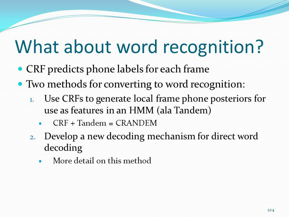 What about word recognition