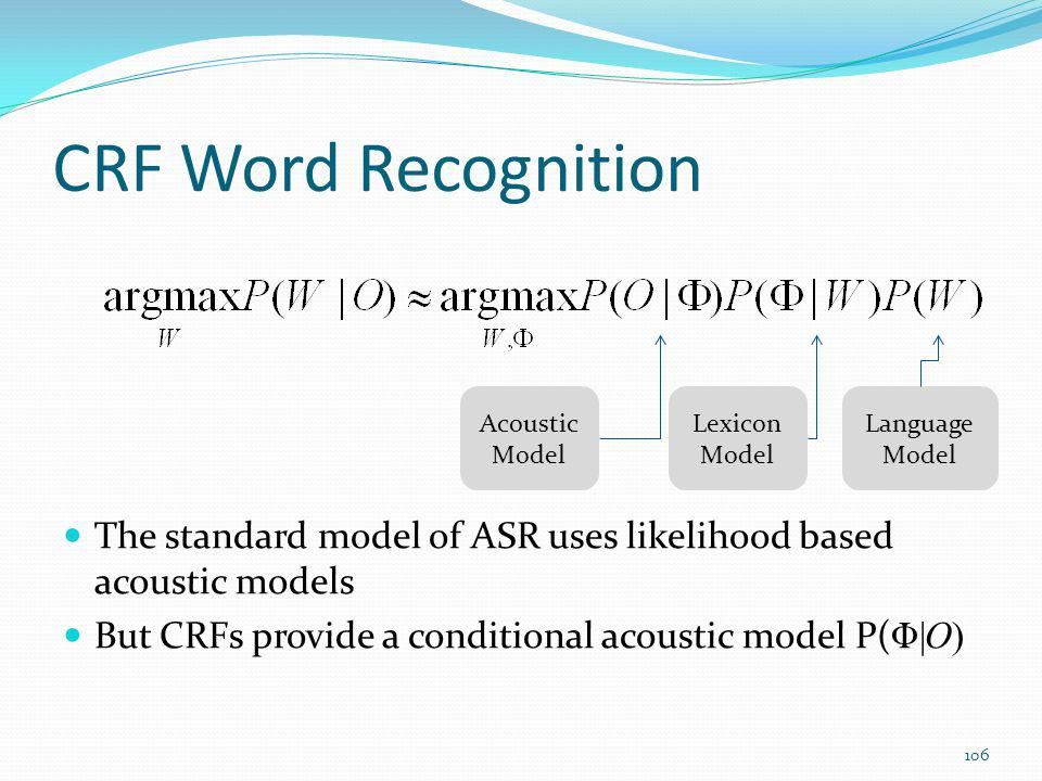 CRF Word Recognition Acoustic. Model. Lexicon. Model. Language. Model. The standard model of ASR uses likelihood based acoustic models.