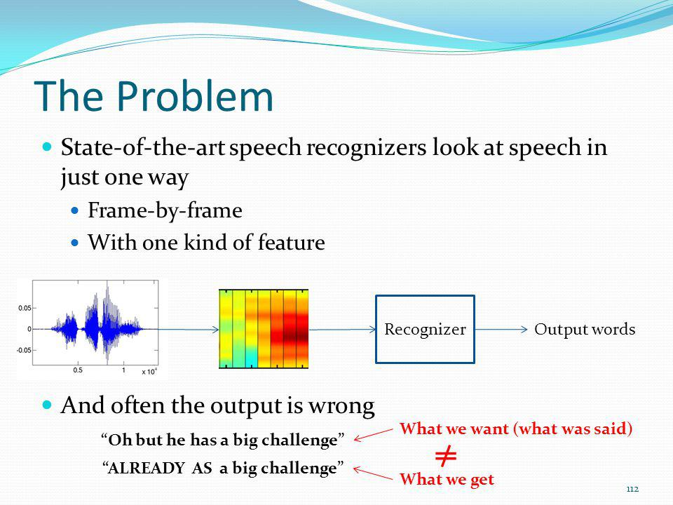 The Problem State-of-the-art speech recognizers look at speech in just one way. Frame-by-frame. With one kind of feature.