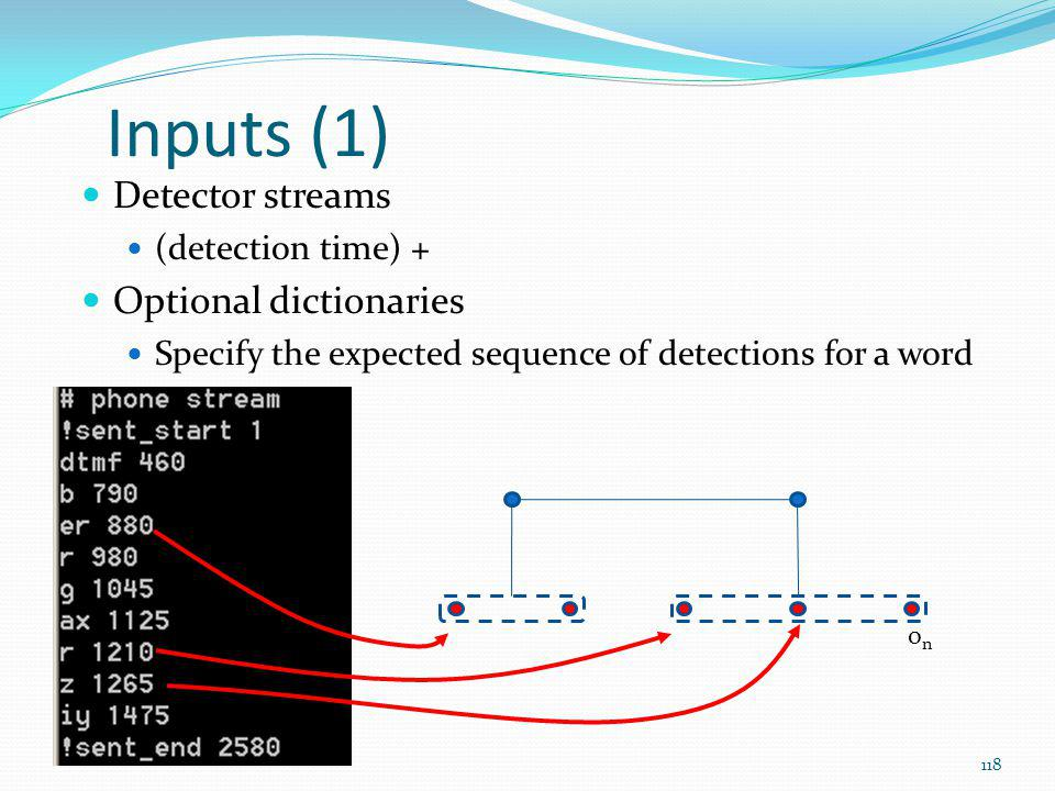 Inputs (1) Detector streams Optional dictionaries (detection time) +