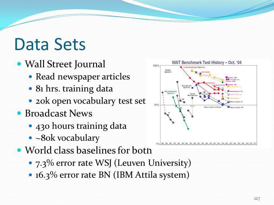 Data Sets Wall Street Journal Broadcast News
