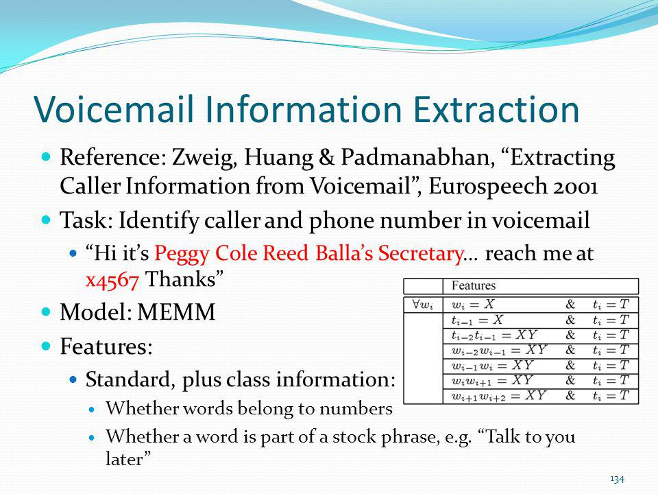 Voicemail Information Extraction