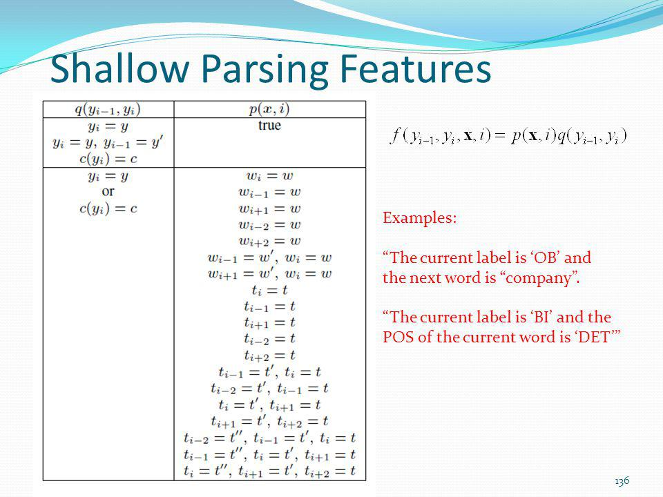 Shallow Parsing Features