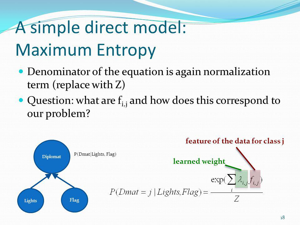 A simple direct model: Maximum Entropy