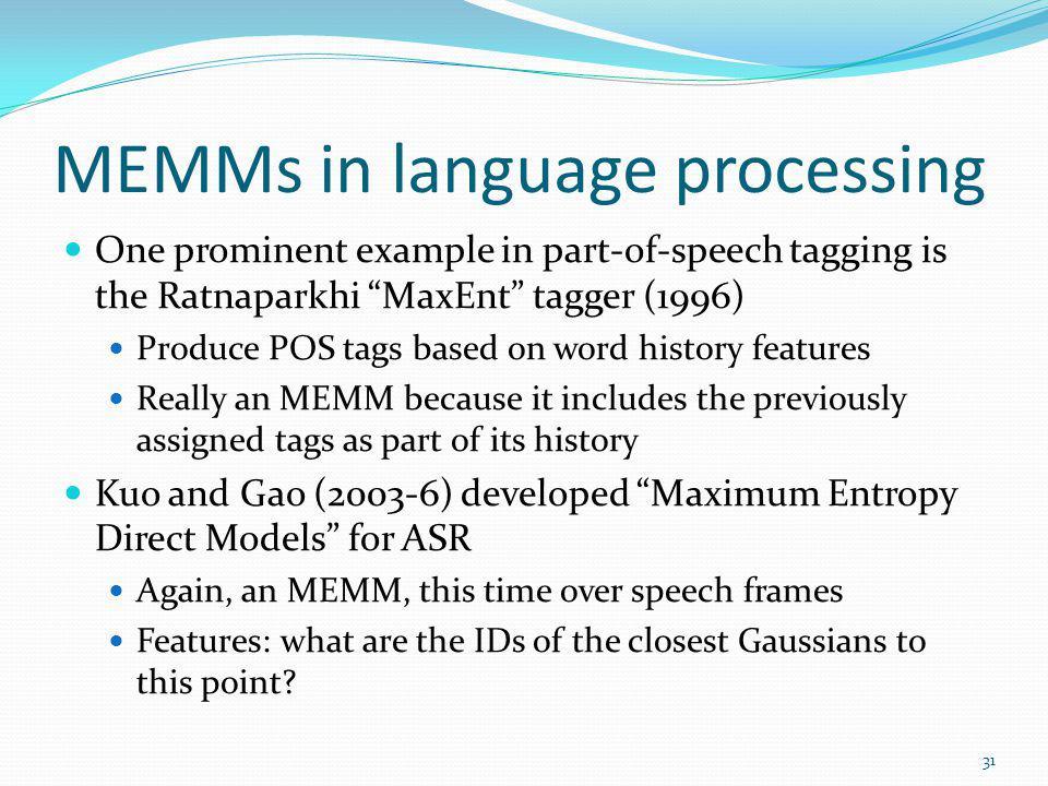 MEMMs in language processing