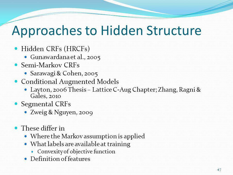 Approaches to Hidden Structure