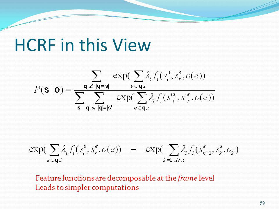 HCRF in this View Feature functions are decomposable at the frame level.