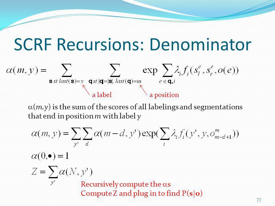 SCRF Recursions: Denominator