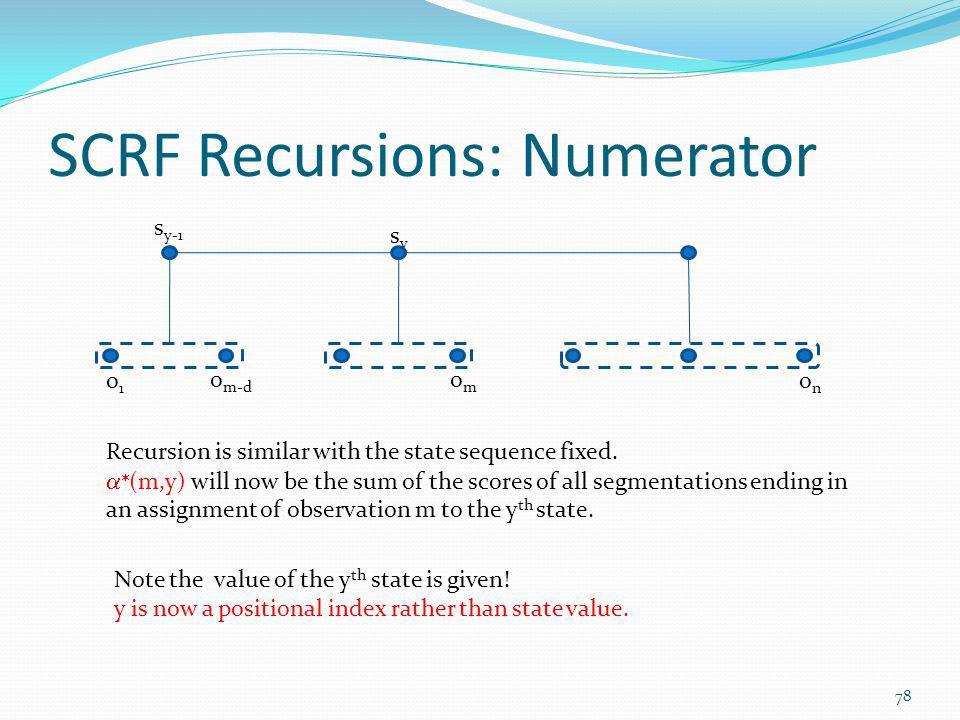 SCRF Recursions: Numerator