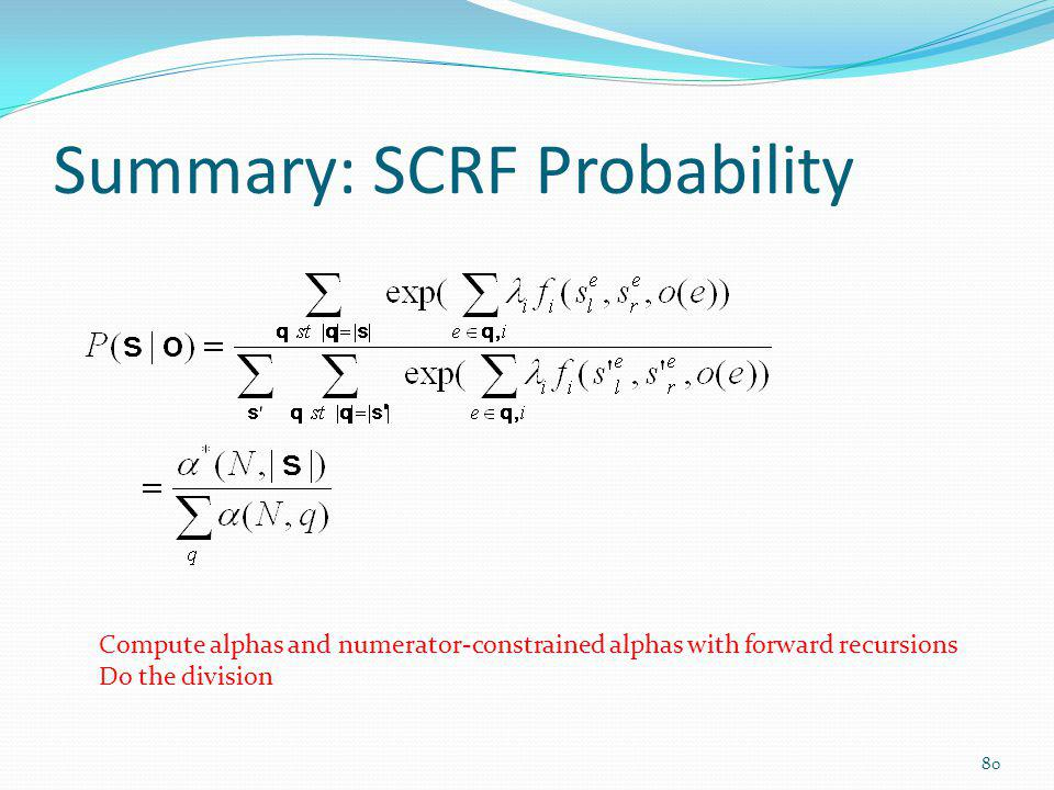 Summary: SCRF Probability
