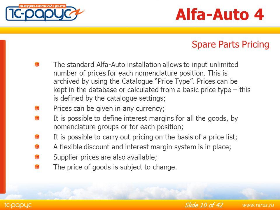 Alfa-Auto 4 Spare Parts Pricing