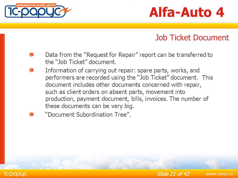Alfa-Auto 4 Job Ticket Document