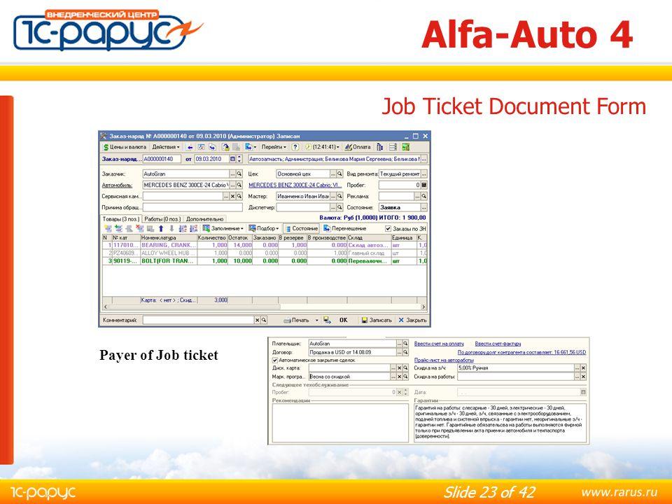 Alfa-Auto 4 Job Ticket Document Form Payer of Job ticket