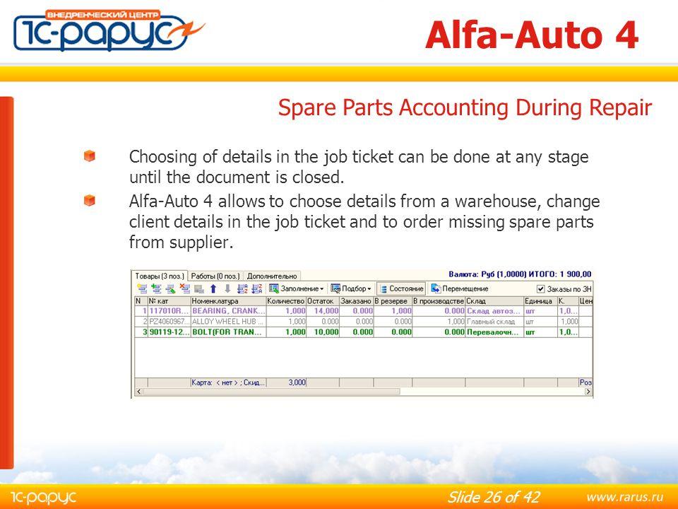 Alfa-Auto 4 Spare Parts Accounting During Repair