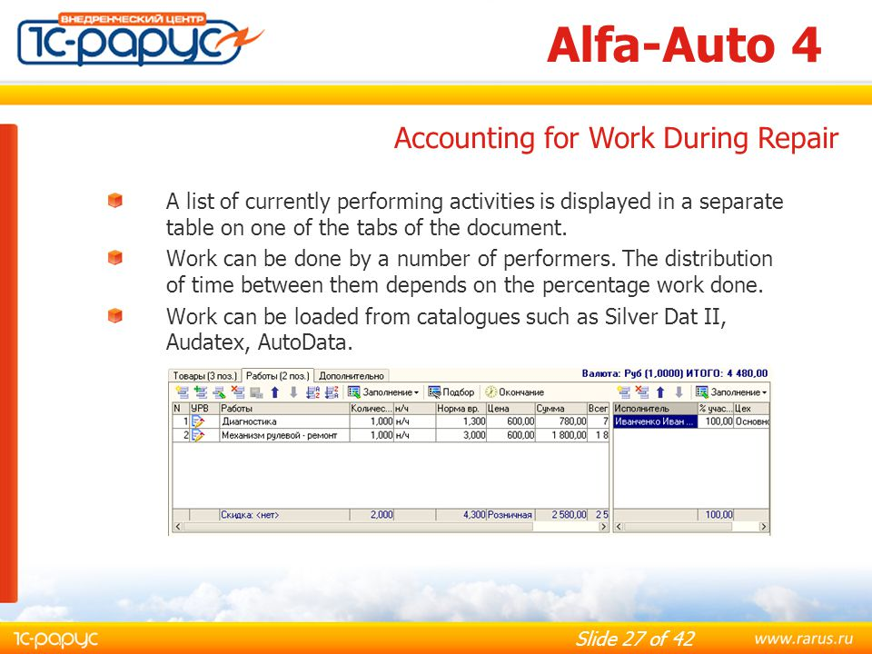 Alfa-Auto 4 Accounting for Work During Repair