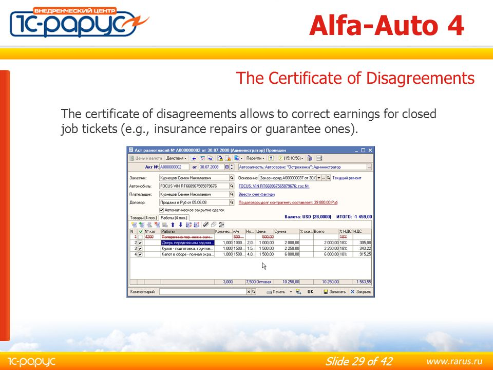 Alfa-Auto 4 The Certificate of Disagreements