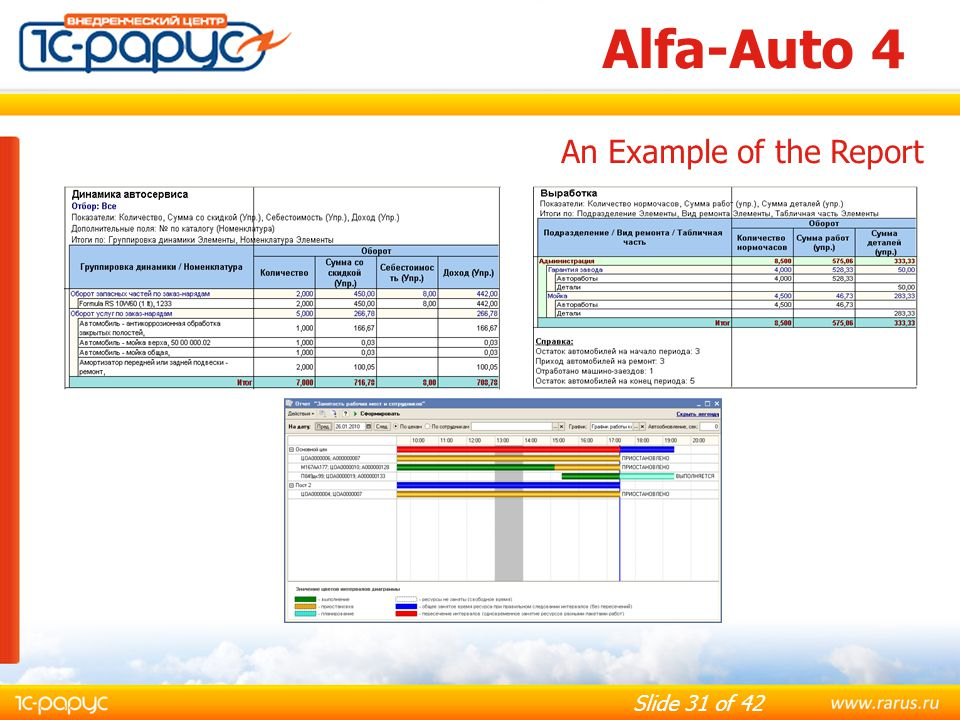 Alfa-Auto 4 An Example of the Report