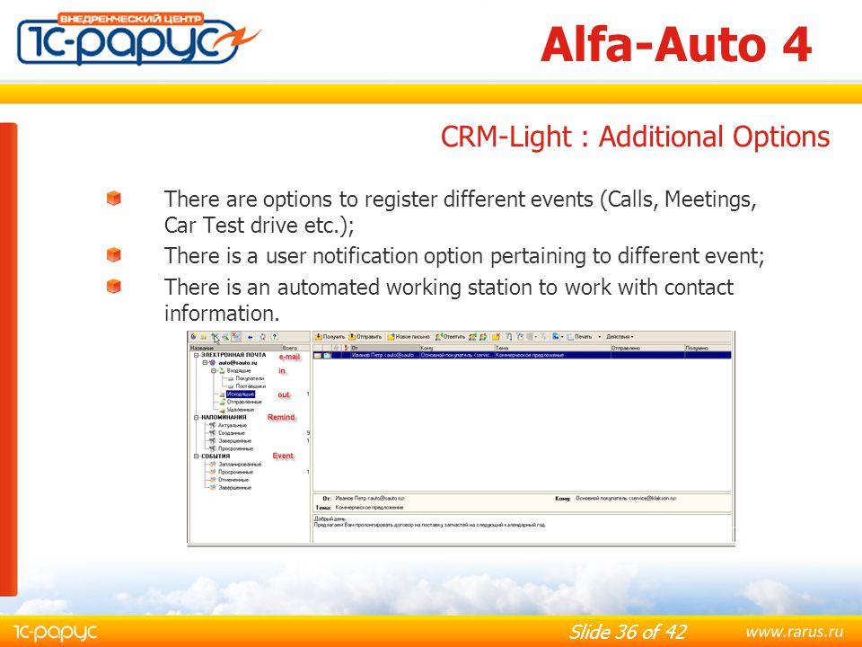 Alfa-Auto 4 CRM-Light : Additional Options