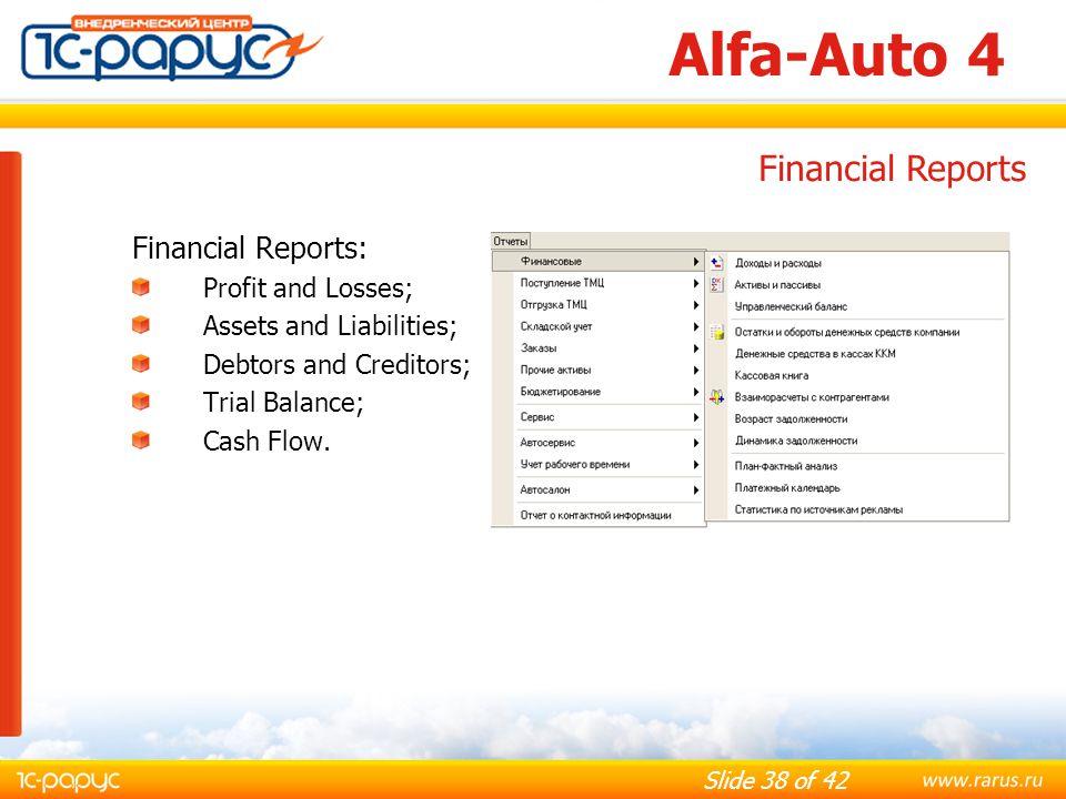 Alfa-Auto 4 Financial Reports Financial Reports: Profit and Losses;