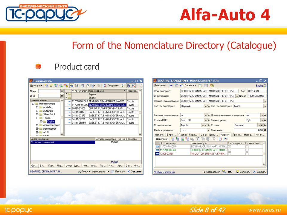 Alfa-Auto 4 Form of the Nomenclature Directory (Catalogue)