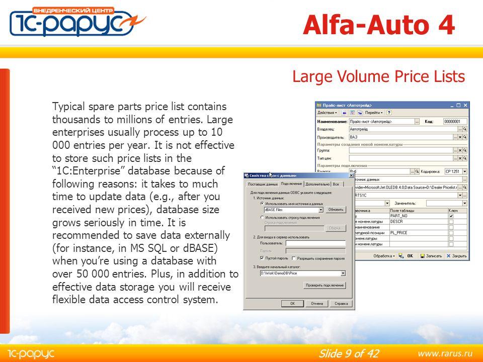 Alfa-Auto 4 Large Volume Price Lists