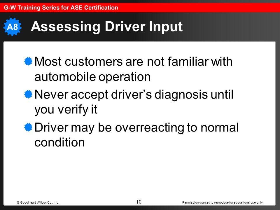 Assessing Driver Input