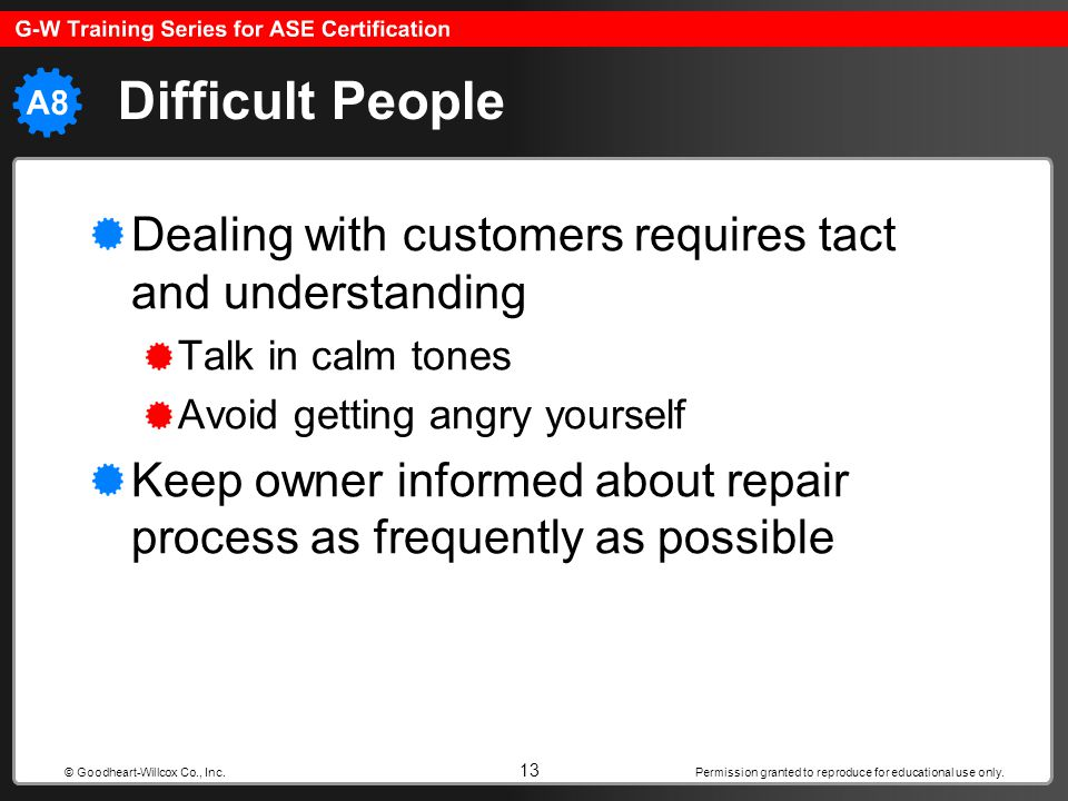 Difficult People Dealing with customers requires tact and understanding. Talk in calm tones. Avoid getting angry yourself.