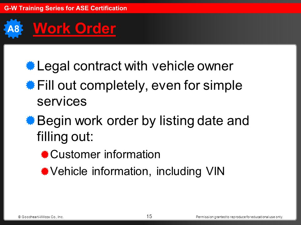 Work Order Legal contract with vehicle owner