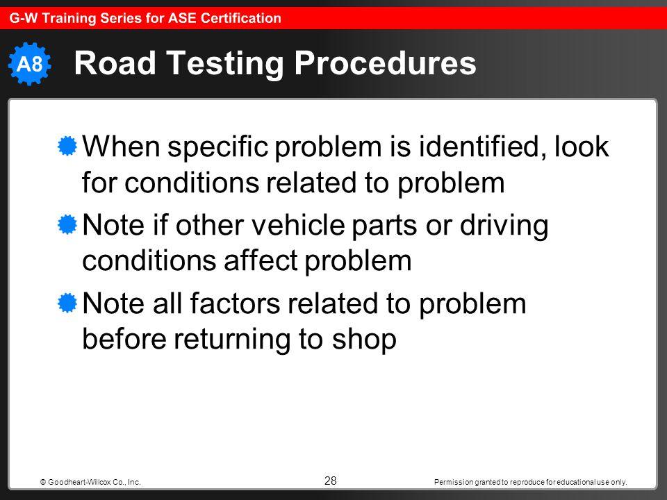 Road Testing Procedures
