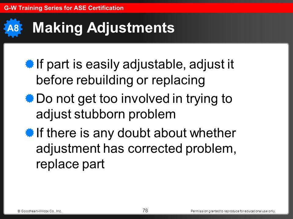 Making Adjustments If part is easily adjustable, adjust it before rebuilding or replacing.