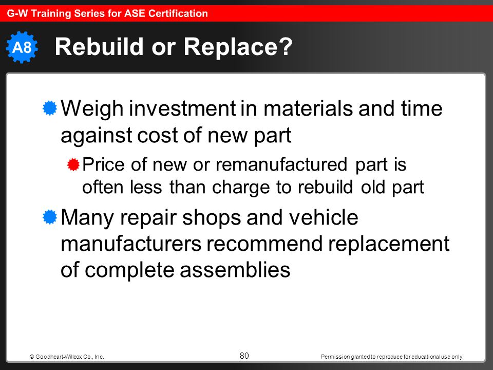 Rebuild or Replace Weigh investment in materials and time against cost of new part.