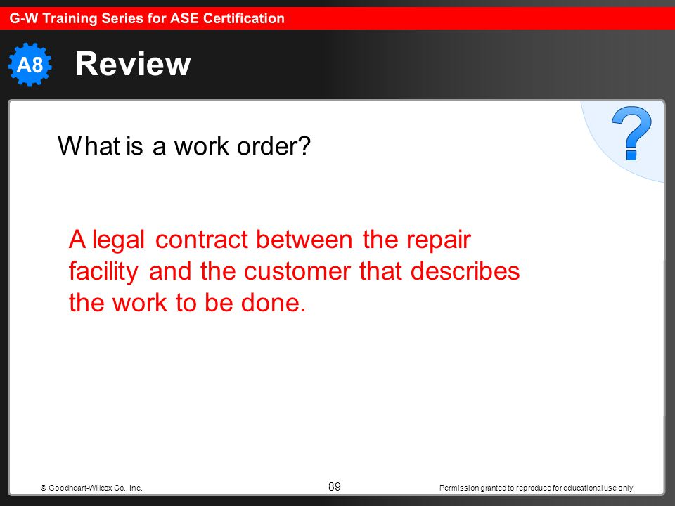 Review What is a work order