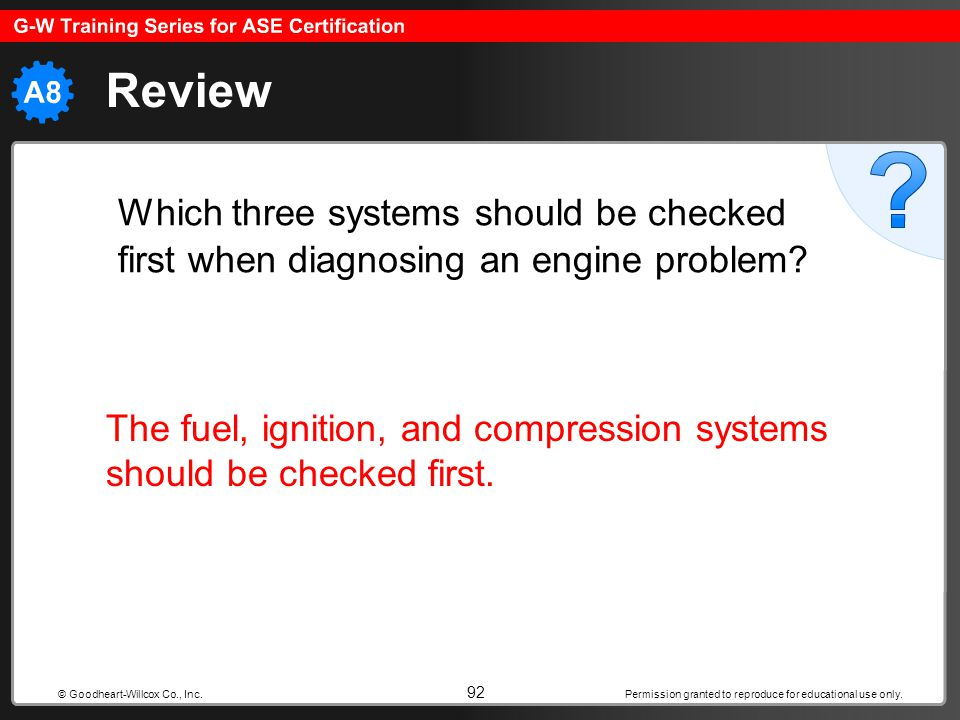 Review Which three systems should be checked first when diagnosing an engine problem