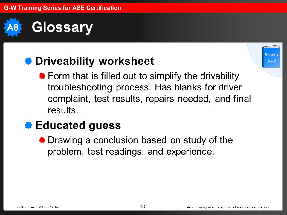 Glossary Driveability worksheet Educated guess