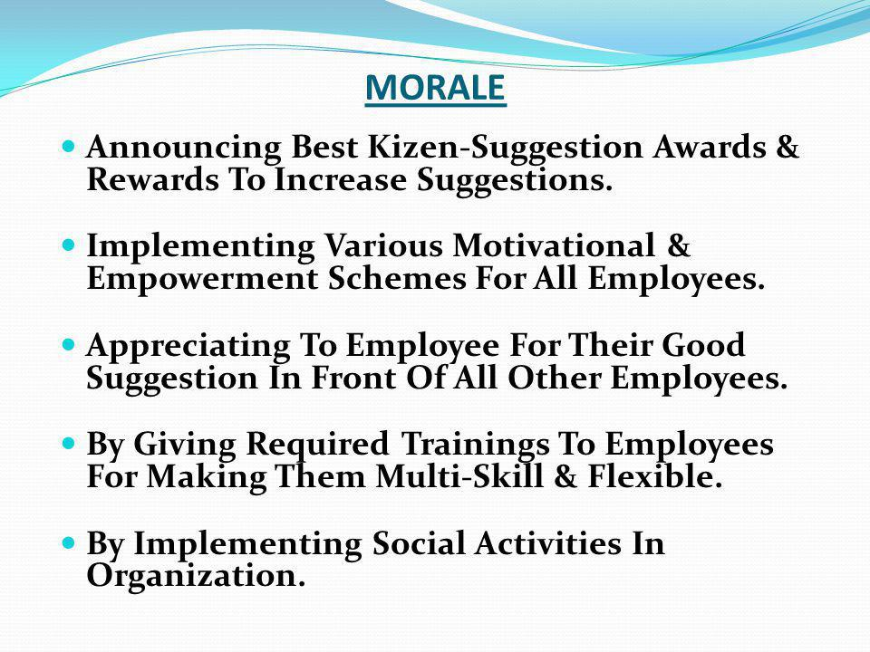MORALE Announcing Best Kizen-Suggestion Awards & Rewards To Increase Suggestions.