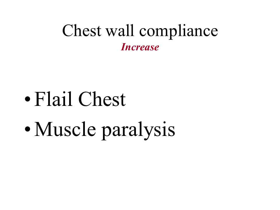 Chest wall compliance Increase