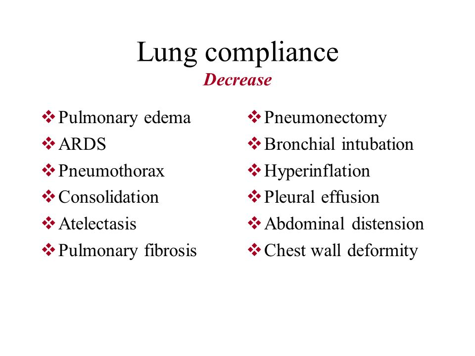 Lung compliance Decrease