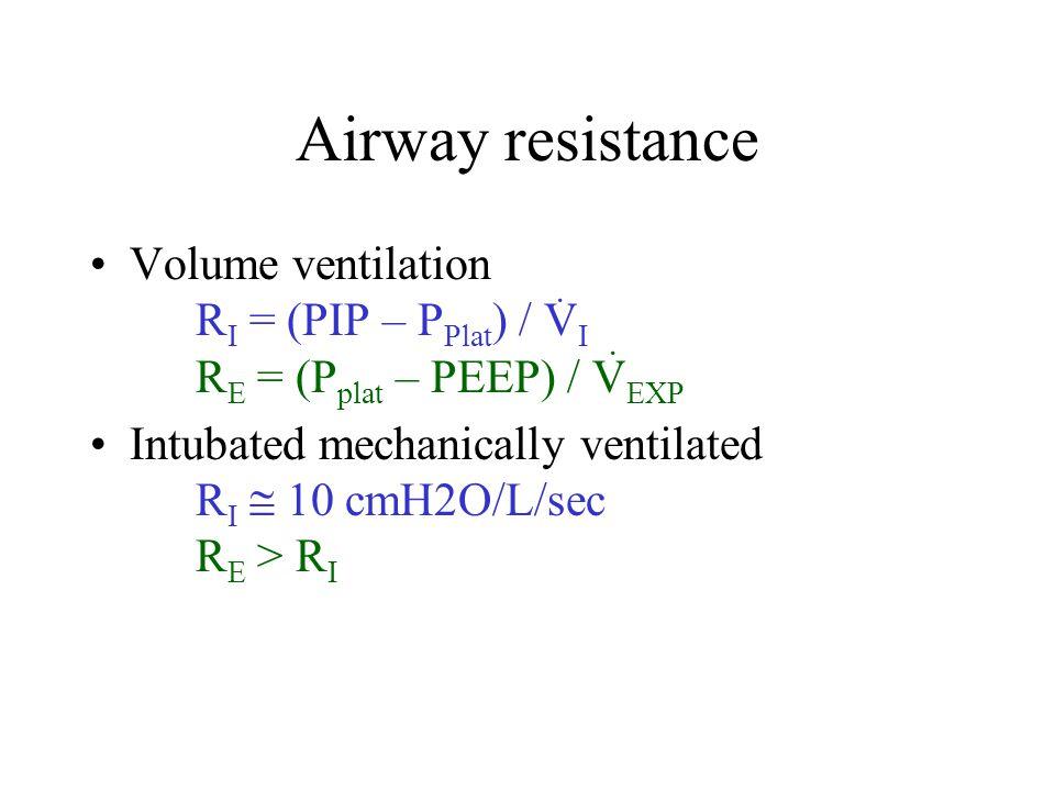Airway resistance Volume ventilation RI = (PIP – PPlat) / VI RE = (Pplat – PEEP) / VEXP.