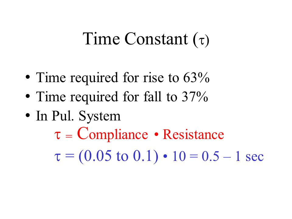 Time Constant ()  = (0.05 to 0.1) • 10 = 0.5 – 1 sec