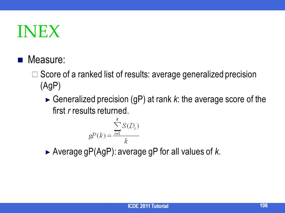 2017/3/31 INEX. Measure: Score of a ranked list of results: average generalized precision (AgP)