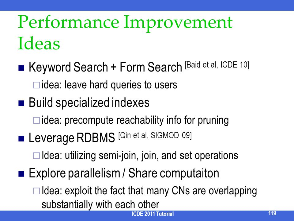 Performance Improvement Ideas